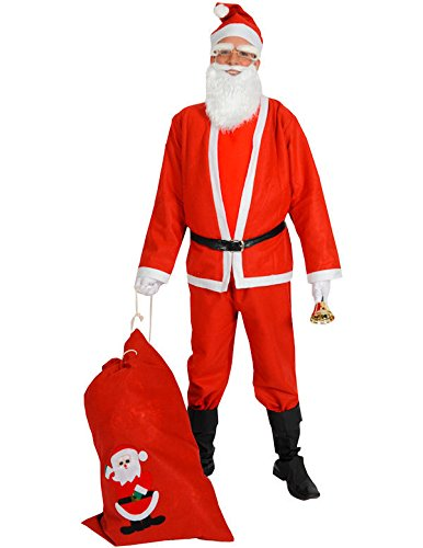 Adult Mens Budget Santa Suit Santa Claus Father Christmas Fancy Dress Costume