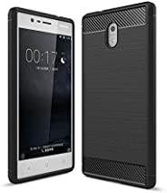 Brain Freezer TPU Carbon Flexible Armor Shockproof Brushed Back Case Cover Compatible with Nokia A3 Black