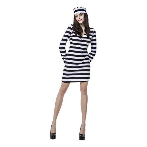 Sexy Sträfling Dame Gefangener Damenkostüm Karneval Fasching Verkleidung mit Hut (Sträfling Kostüme Frau)