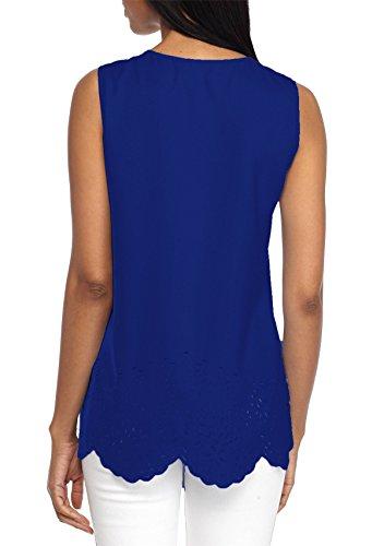 JOTHIN 2018 Estive Senza Maniche Girocollo Bluse a Balze Tinta Unita T-Shirt Slim Fit Casual Gilet Fasciante Fitness Canottiere Donna Blu