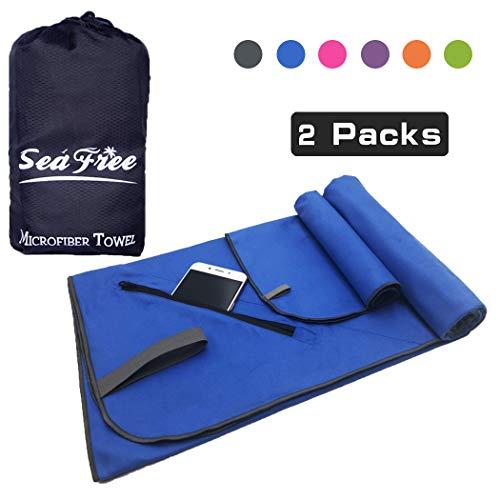 Sea free asciugamano microfibra set 2 pezzi   80x160cm + 39x39cm teli mare in microfibra, asciugatura rapida leggeri asciugamani per palestra, piscine, viaggio, sport, campeggio con tasca (blu)