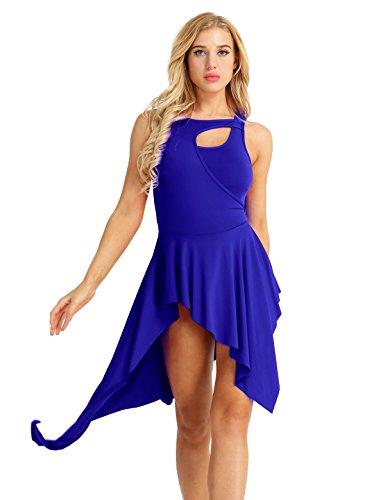iEFiEL Maillot Vestido de Danza Ballet para Mujer Tutú Leotardo Body Fiesta Actuación sin Manga Asimétrico Azul L