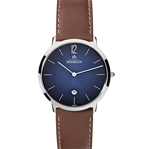 Michel Herbelin Unisex Erwachsene Analog Uhr mit Leder Armband 19515/15