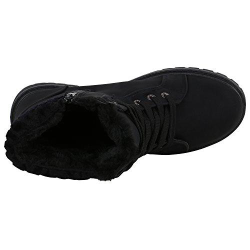 Damen Stiefeletten Outdoor Boots Warm Gefütterte Schnürstiefeletten Schnürschuhe Lack Zipper Profilsohle Winter Schuhe Flandell Schwarz Zipper