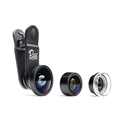 1. Pixter Pack Starter, 3 Objectifs pour Smartphone (Grand Angle + Fisheye + Macro), Compatible Tout Smartphone