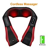 Appareil de Massage Misiki Masseur d'épaules Sans Fil Shiatsu Massage Électrique pour le Cervical et le Dos avec Fonction de Chauffant, Balles de Massage 3D à Pétrissage et Infrarouge pour Relaxation
