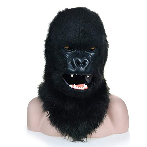 Cat Für Kostüm Black Jugendliche - IENPAJNEPQN Schwarze pelzige Gorillakopf-Maske mit beweglichen Mund-Tier-Reihen-Kostüm-Stoff-Masken (Color : Black)