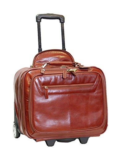 Cuir véritable Pilot Case Bag Trolley Laptop Voyage d'affaires Weekend Sac Noir Brun AL1 (brun)