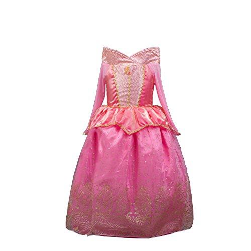 D'amelie Aurora Prinzessin Kostüm Kinder Glanz Kleid Mädchen Weihnachten Verkleidung Karneval Party Halloween (Kind Aurora Kostüm)