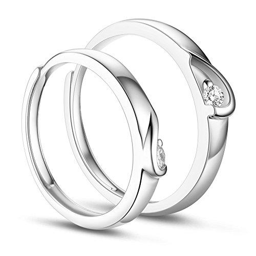 Sweetiee anello per coppia in argento 925 un paio di anelli, mezzo cuore con zircone aaa, platino, 17-20 mm, regolabile.