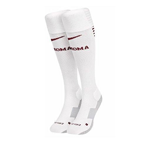 Nike AS Roma H/A Stadium Sock Calcetines, Hombre, Blanco (Phantom Team Red), M