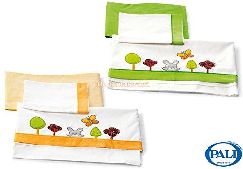 Set lenzuolino Pali Smart Bosco verde + Set lenzuolino Pali Smart Bosco arancio