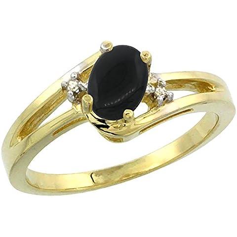 In oro giallo 14 k, colore: nero Onyx-Anello ovale, 6 x 4 mm, taglio diamantato, taglie J-T