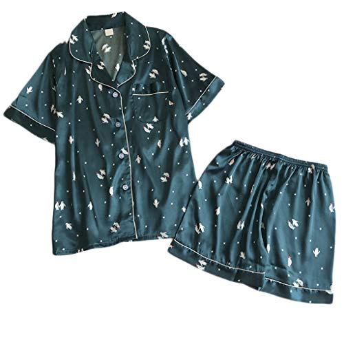 MOIKA Damen Schlafanzug Set Bequem V-Ausschnitt Nachthemd Blumendruck Print Kurze Ärmel Shirt Short Schlafanzughosen Zweiteiliges Set Satin Nachtwäsche Sleepwear Print-footed Sleeper