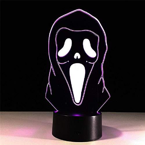 lloween maske bunte atmosphäre schlafzimmer lampe für kinder dekoration beleuchtung LED 3d nachtlicht USB schnittstelle kind geschenk ()