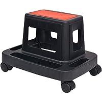 vidaXL Taburete para mecánicos giratorio con almacenamiento