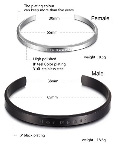 "Parr Partner Armbänder aus Edelstahl mit Gravur ""His Only & Her One"" (""His Beauty & Her Beast"")"