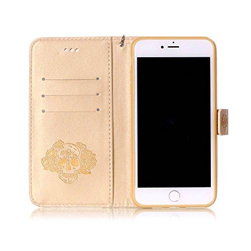 "MOONCASE iPhone 7 Plus Hülle, Bling Glitzer Diamond Crystal Flip PU Leder Handyhülle Bookstyle Cover mit Kartenfächer Schutzhülle Etui für iPhone 7 Plus (5.5"") (Totenkopf Rosa) Totenkopf Golden"