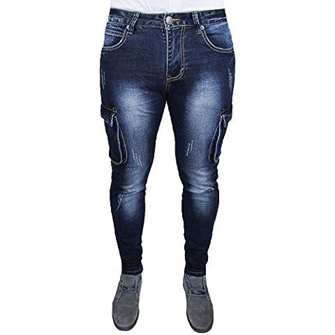 Jeans uomo cargo pantaloni blu scuro denim modello 5 tasche slim fit aderente con tasconi laterali taglia 40 42 44 46 48 50 52