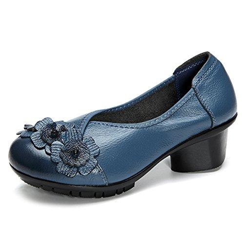 Socofy Damen Pumps, Damen Leder Slipper Klassische Pumps Blume Loafers Metallic Party Schuhe Leder-Optik Ballerinas Vintage Halbschuhe Slip-Ons Herbstschuhe Blau 39