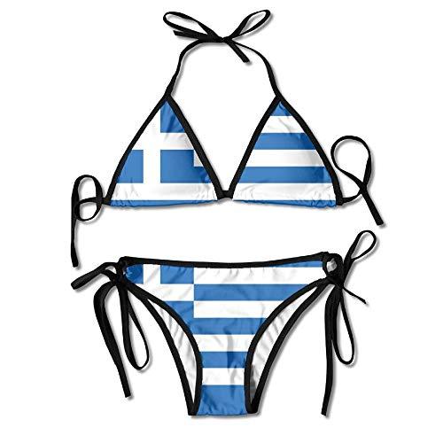 Womens Bikini Set Griechenland Griechische Flagge Sexy Badeanzug (Griechischen Für Frauen)