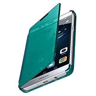 moex® Dünne 360° Handyhülle passend für Huawei P9 Lite | Transparent bei eingeschaltetem Display - in Hochglanz Klavierlack Optik, Türkis