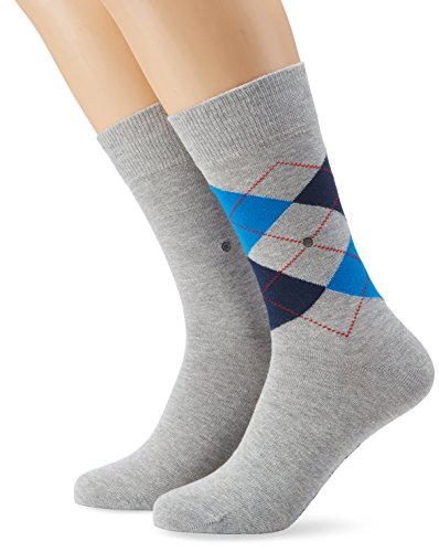 Burlington Herren Socken Everyday Argyle - Uni Mix 2er Pack, Gr. 40/46, Grau (light grey 3400) (2 Argyle-socken)
