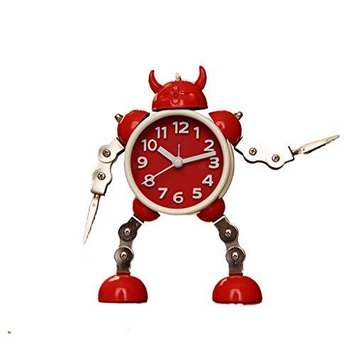 Roboter Wecker Kreative Student Wecker Nette Kinder Wecker Uhr Metall Wecker (Farbe : Red)