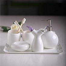 Ensemble di bagno,5 pezzo di osso materiale porcellana bianco puro,bagno Accessori Set