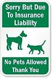 Sorry mais grâce aux Assurances Responsabilité, pas de Pets Autorisé, Thank You (avec connexion Graphic), 45,7x 30,5cm