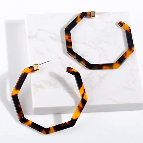 Boonlig Acryl Ohrringe, Vintage Leopard Acetat Harz Geometrische Große Polygonale Ohrstecker Für Frauen Schildpatt Schmuck Geschenk,A