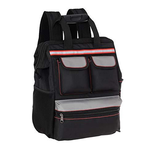 Macddy Rucksack-Werkzeugtasche, Schulter-Set, Multifunktions-Aufzug, Reparatur-Rucksack, Techniker-Tasche, Werkzeug-Set aus Oxford-Stoff, Werkzeug-Set, Tasche aus Segeltuch schwarz