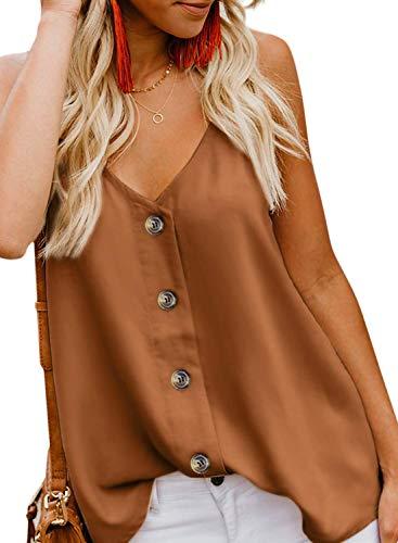 KOKOUK Women's Casual Vest Sleeveless V Neck Button Adjustable Strap Tank Tops Summer Casual Blouse Shirt Size (Aztec Sun-bikini)