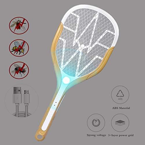 LMFLY Swatter Elektrische Mückenklatsche USB AufladenSchädlingsbekämpfung LED-Beleuchtung Elektrische Fliegenklatsche Dreischichtiges Netz Mückenfalle (Color : Gold)
