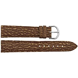 Watch Strap in Brown Leather - 18mm - - buckle in Silver stainless steel - B18BroItr18S