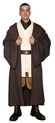 Star Wars Obi-Wan Kenobi Jedi Ritter Kostüm - Körper Tunika mit Dunkelbraun Jedi Robe - Replik Star Wars Kostüm - Braun, Herren (Wars Kostüme Replik Star)