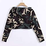 Boomboom Women's Floral Print Long Sleeve Hooded Camouflage Windbreaker Short Jacket Camouflage L