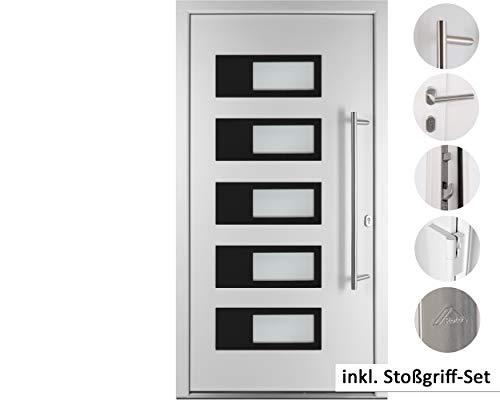 kuporta Alu-Kunststoff Haustür SKULLY DOOR weiß 100 x 200 cm DIN rechts inkl. Stoßgriff-Set