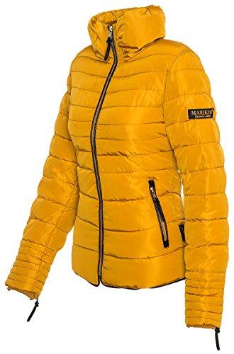 Marikoo Damen Winter Jacke Steppjacke Stehkragen Teddyfell warm gefüttert B354 Gelb