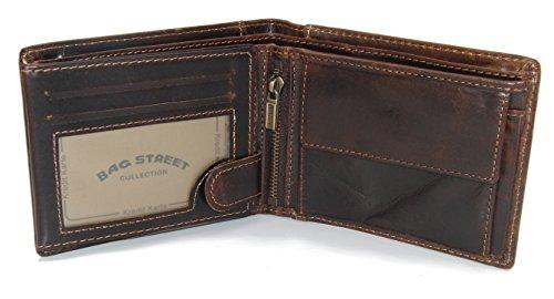 Herren Geldbörse Geldbeutel Portemonnaie Leder WILD, Farbe:Braun - 2