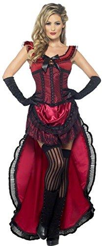 n Kostüm In Rot Burlesque Babe Wild West Kostüm Verkleidung EU 36-46 - Rot, EU 44-46 ()