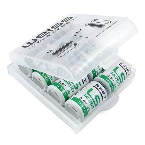 Jus Lot de 8LS–14250–1/2AA 3,6V batterie li-socl2–Bobbin primaire–Cellule Avec Batterie haute densité d'énergie–+ 2x blanc Boîte de protection