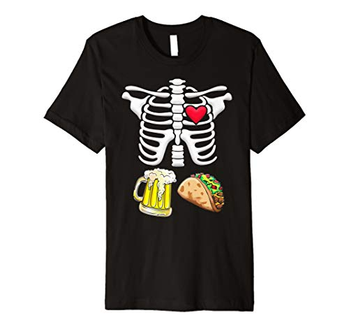 Tacos und Bier Schwangere Skelett Halloween Shirt
