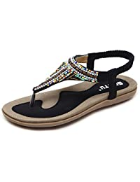 Longra Donne Bohemia Flats Sandal (EU Size:40, Marrone)