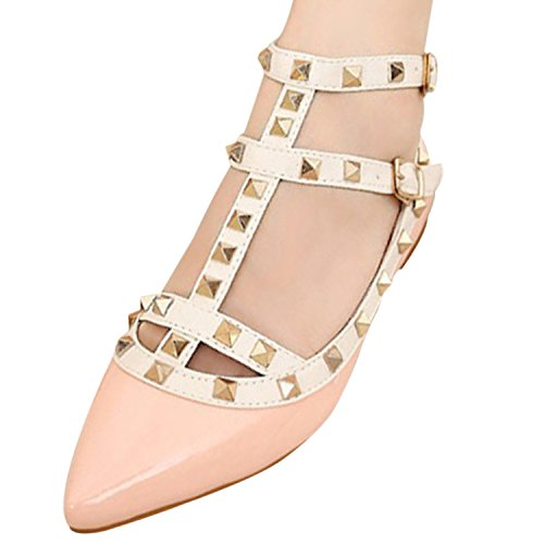 Oasap Women's Pointed Toe Rivet Buckle Flat Shoes pink