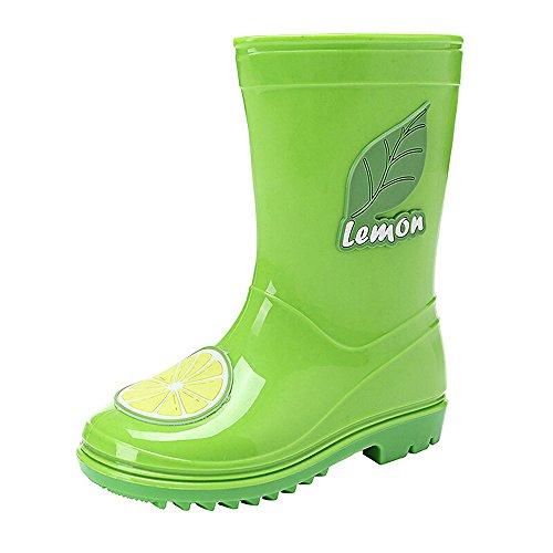 Bwiv bottes de pluie pour garçon et fille bottes légères avec décoration bottes en caoutchouc des tailles 23 à 27 Vert avec citron