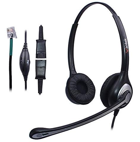 Wantek Filaire Téléphone Casque Dual avec Noise Cancelling Micro + Quick Disconnect pour AVAYA Aastra Allworx Adtran Alcatel Lucent AltiGen Comdial Digium Mitel Plantronics Téléphone Fixes(602QS1)