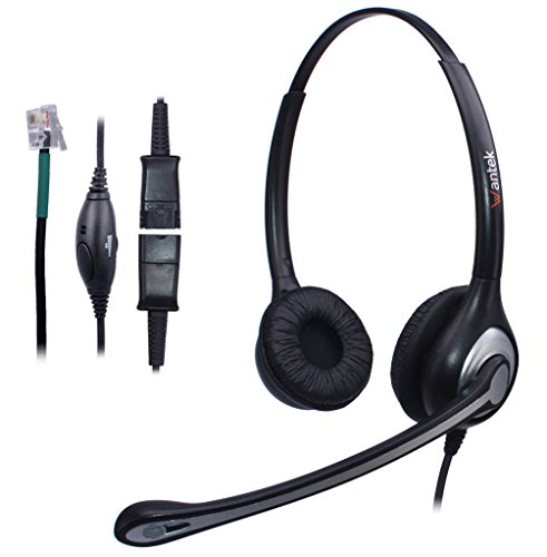 Wantek Wired Telefon Headset Kopfhörer Dual mit Noise Cancelling Mikrofon + Quick...