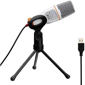 Tonor Microfono USB Audio Con Supporto da Tavolo Per Skype PC Mac Laptop Chiacchiera Canto Karaoke Bianco