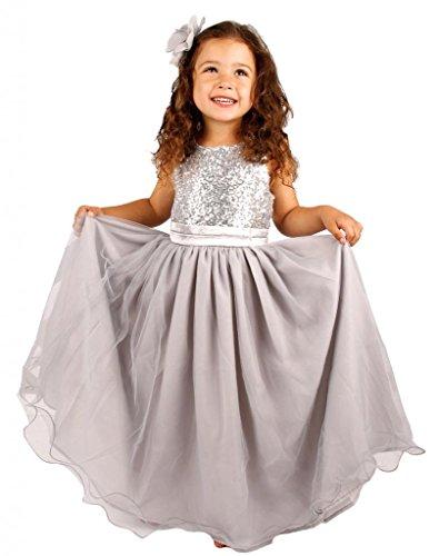 Bow Dream Kleid für Mädchen Sequinen Silber 3 Jahre
